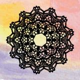 Doily laçado elegante. Fazer crochê a mandala. ilustração do vetor