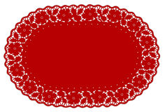 doily lace mat pattern place red rose 向量例证