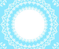 Doily lace. White doily lace on lightblue background Stock Images