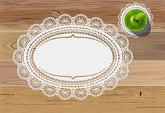 Doily mats and apple. Vector green apple and vintage doily mats on wooden table, eps10 file, gradient mesh and transparency used Stock Image