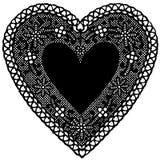 Doily nero del cuore del merletto di +EPS su priorità bassa bianca Immagine Stock Libera da Diritti