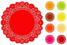 Doily rotondo del merletto rotondo di +EPS, 9 colori luminosi Fotografia Stock