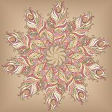 Doily round lace pattern. Circle background with many details Stock Image