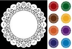 Doily van het kant, 8 kleuren (jpg+eps)