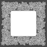 Doily. White Lace Frame. Black Background vector illustration