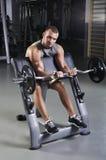 Doing Biceps Exercise di modello maschio muscolare bello Fotografia Stock