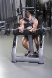 Doing Biceps Exercise modelo masculino muscular considerável Foto de Stock