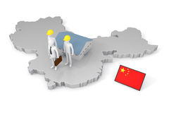 Doing business in China. Build a factory in China. Taking a global market. Considering international expansion. To travel abroad. Flag of China Royalty Free Stock Photo