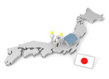 Doing business in Japan. Build a factory in Japan. Taking a global market. Considering international expansion. To travel abroad. Japanese flag Royalty Free Stock Photo