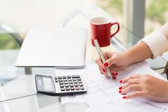 Doing calculations Royalty Free Stock Photography
