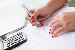 Doing calculations Stock Image