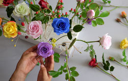 Doing Clay Flower, Colorful Roses Flower Stock Photo
