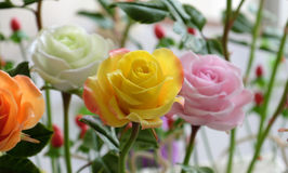 Doing clay flower, colorful roses flower Royalty Free Stock Photos