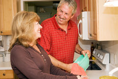 Doing Dishes Together stock photo