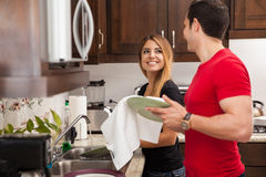 Doing the dishes together Stock Images