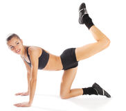 Doing exercises royalty free stock photo