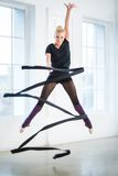 Doing exercises with a ribbon Royalty Free Stock Photos
