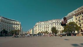 He doing his best in acrobatics stock video footage