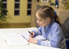 Doing homework Stock Images