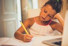 Doing homework stock image