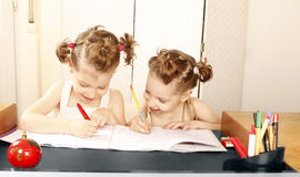 Doing homework together Royalty Free Stock Image