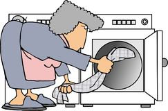 Doing laundry. This illustration that I created depicts a woman getting clothes out of a dryer Royalty Free Stock Images