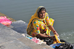 Doing Laundry in India Royalty Free Stock Photos