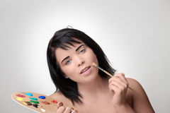 Doing the make up Royalty Free Stock Photos
