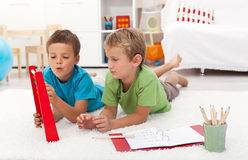 Doing math exercises at home Stock Photo