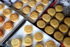 Doing moon cake, baking at home Royalty Free Stock Images