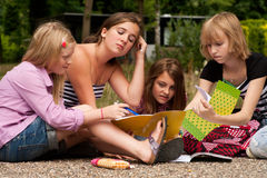 Doing our homework in the park Royalty Free Stock Images