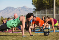 Doing Push Ups Near Mountains Royalty Free Stock Photo