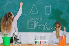 Doing science research with laboratory equipment. School children in science classroom. Lesson of natural science stock photos