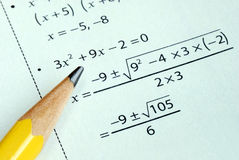 Doing some grade school Math royalty free stock photography
