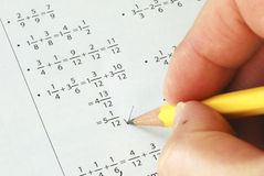 Doing Some Grade School Math Stock Photos
