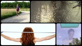 Doing sports, montage. People doing various sports, collage stock footage