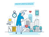 Healthy lifestyle athlete. Using physical exercises and professional training programs. Doing sports, training, healthy lifestyle athlete. Improving body`s vector illustration