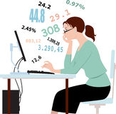 Doing taxes, crunching numbers. Serious young woman in glasses sitting at the desk, working on a computer, a cloud of numbers over her head Stock Images