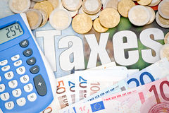 Doing Taxes Euro Royalty Free Stock Photography