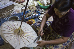 Doing Typical Myanmar Umbrellas Stock Photos
