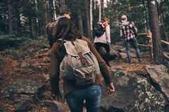 Doing what they love. Full length rear view of young people in w. Arm clothing moving up while hiking together in the woods Royalty Free Stock Photography