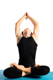 Doing yoga. Man doing yoga on white background Royalty Free Stock Photo