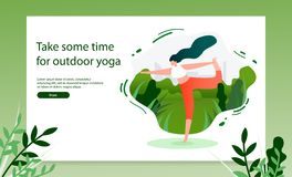 Doing Yoga Exercises Outdoor Vector Web Banner stock illustration