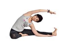 Doing yoga Stock Photo
