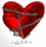 Dois acorrentaram corações vermelhos Imagem de Stock