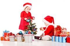 Dois ajudantes de Santa Fotografia de Stock