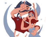Dois amantes estão olhando a lua ilustração royalty free
