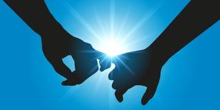 Dois amantes guardam as mãos na frente de um sol brilhante ilustração stock