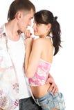 Dois amantes no fundo branco Fotos de Stock Royalty Free