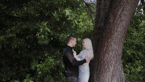 Dois amantes sentam-se sob uma árvore no tempo ensolarado olham se e o sorriso filme